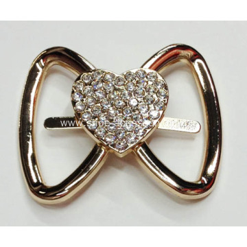 2014 Bowknot Alloy Shoe Buckles with Heart-Shaped Crystal Glass in Centered