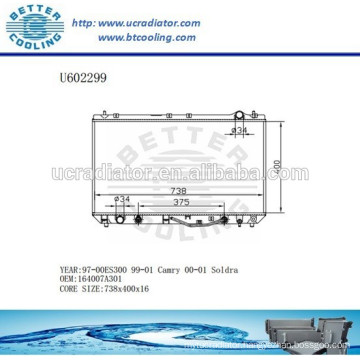 Radiator For TOYOTA ES300 164007A301 97-00 Manufacturer and Direct Sale