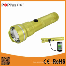 Lanterna elétrica recarregável do diodo emissor de luz do banco do poder do USB de T6 do CREE Xm-L
