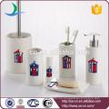 Juego de baño de cerámica de la colección de la decoración 6 piezas de Essentials al por mayor