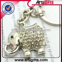 Llavero del elefante del metal del diamante artificial de la moda