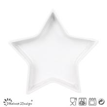 Star Shape White Ceramic Tray