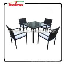 5шт Алюминиевый мебель из ротанга стол и стул набор мебели для столовой, ресторан стол и стул