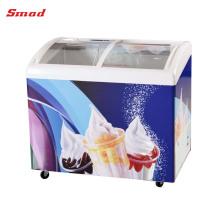 Дисплей грудь охладитель изогнутый стеклянный верхний замораживатель дисплея мороженного замораживателя
