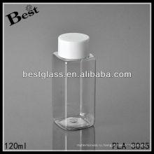 120 мл пластиковые бутылки, прозрачный квадратный пластиковый флакон с белой крышкой винта