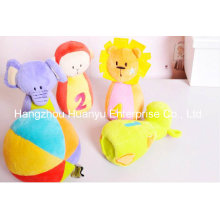 Factory Supply Baby Soft Plush Stuffed Bowling with Rattle