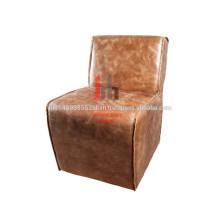 Silla de comedor de cuero marrón