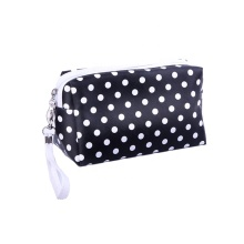 Custom Logo Luxury Cute Polka Dots PU Makeup Cosmetic Case Bag