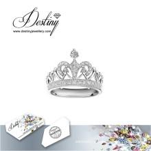 Destino joias cristal de Swarovski anel coroa
