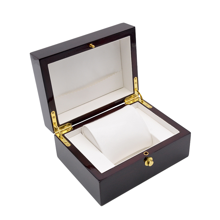 Custom Logo Wooden Watch Box Leather Watch Case with Gift Box Packaging Luxury Gift Classic Wine Red Wood Watch Box