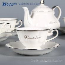 Árabe de color blanco concisa diseño de café conjuntos de porcelana taza de café conjunto