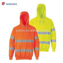 EN20471 Sweat à capuche Hi Vis classe 3, vêtements de travail Hoddie haute visibilité avec bandes réfléchissantes