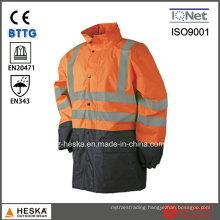 High Visibility Mens Reflective Waterproof Safety Parka Jacket