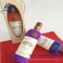 Pastel de toalla 100% algodón botella de vino