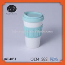 Keramik Reisebecher mit Silikondeckel & Wrap, Porzellan Becher