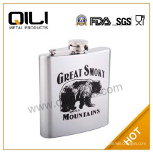 Printing stainless steel brown leather hip flask