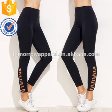 Leggings noir d'ourlet de treillis OEM / ODM fabrication en gros de mode femmes vêtements (TA7001L)