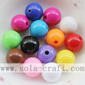 Fashion Lucite Solid 8MM Chunky Acrylic Plastic Round Smooth Ball Beads Charm in Bulk