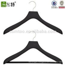 black wooden rubber coated coat hanger