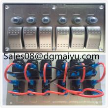6 Gang LED Boot Caravan Schaltung Rocker Switch Panel Aluminium Kombination Schalter