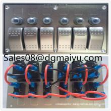 6 Gang LED Boat Caravan Circuit Rocker Switch Panel Aluminum Combination Switch