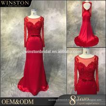 Высокое качество на заказ длинные рукава вечерние платья платья