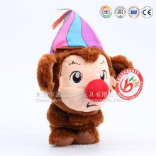 Novo macaco de palhaço de pelúcia engraçado com chapéu colorido boneca de palhaço de pelúcia brinquedo