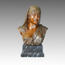 Busts Bronze Garden Sculpture Arab Female Carving Deco Brass Statue TPE-110