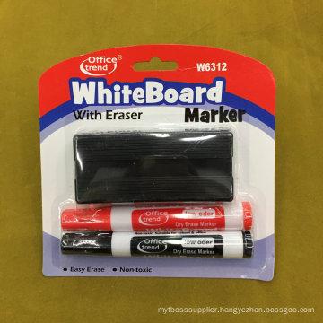 Whiteboard Marker Pen with Brush 2+1, Dry Eraser Marker Pen Set W6312