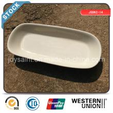 Assiette en céramique enroulée en 10 '' rectangle (bord blanc)