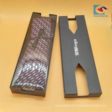 Caja de embalaje rígida del regalo de la corbata de la cartulina del logotipo de la impresión negra de encargo