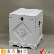 Античный белый Малый деревянный ящик для хранения с крышкой