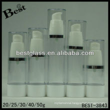 20/25/30/40/50ml airles cosmetic bottle,straight round shape airless cosmetic bottle,san airless cosmetic bottle