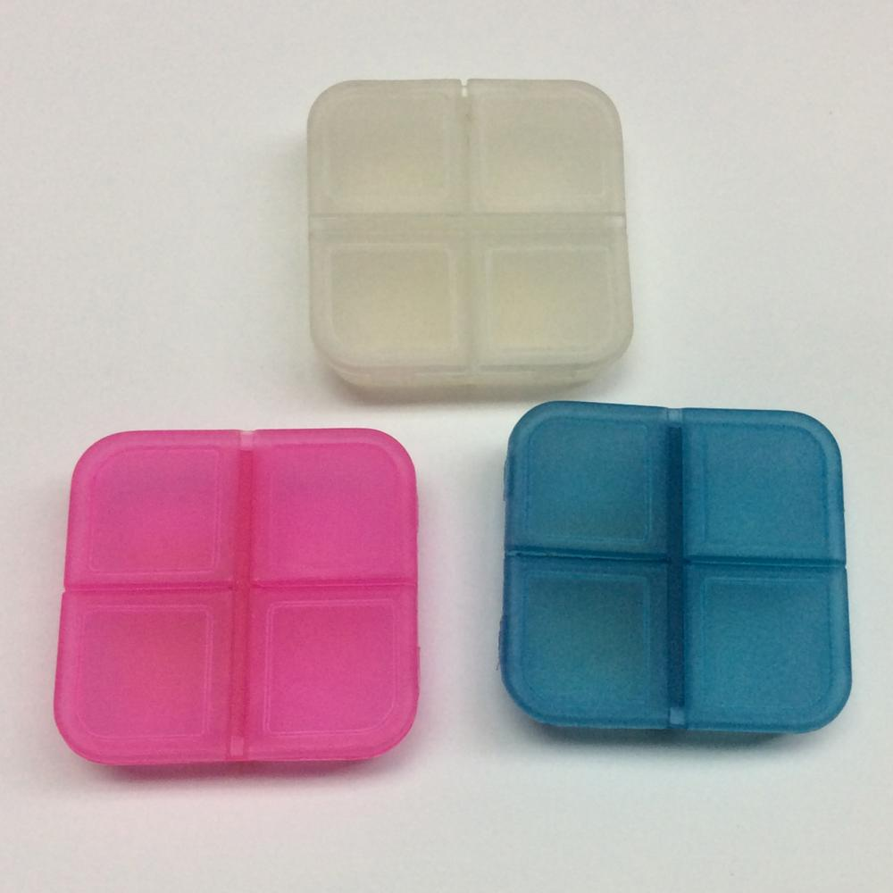 Plastic Mini Portable Four Grid Pill Case