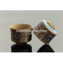 Qin Dinastia Caracteres Chineses E Terra Cotta Cavalos Copa De Chá De Cerâmica