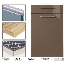 Portas modernas do armário de cozinha acrílico lustroso com borda de borda do PVC (personalizado)
