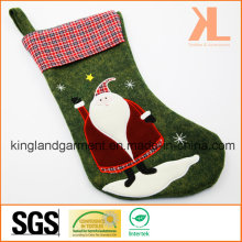 Quality Embroidery/Applique Christmas Decoration Felt Tartan Santa Style Stocking