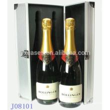 hot sales 2 bottles aluminum wine case factory