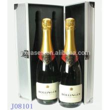 Горячие продажи 2 бутылки вина алюминия случае фабрика