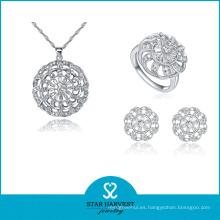 Collar de piedra de calidad AAA clásica de plata de ley 925 (J-0059)