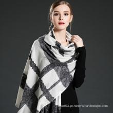 Mulheres Lace Stitching Wool Scarf Shawl
