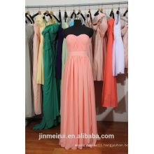 Coral Bridesmaid Dresses Sweetheart Bodice With Sash Floor Length Chiffon Watermelon Brides Maid Dress