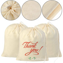 Natural Cotton Reusable Muslin Drawstring Bags Produce Bulk Gift Bag Jewelry Pouch for Party Wedding Home Storage