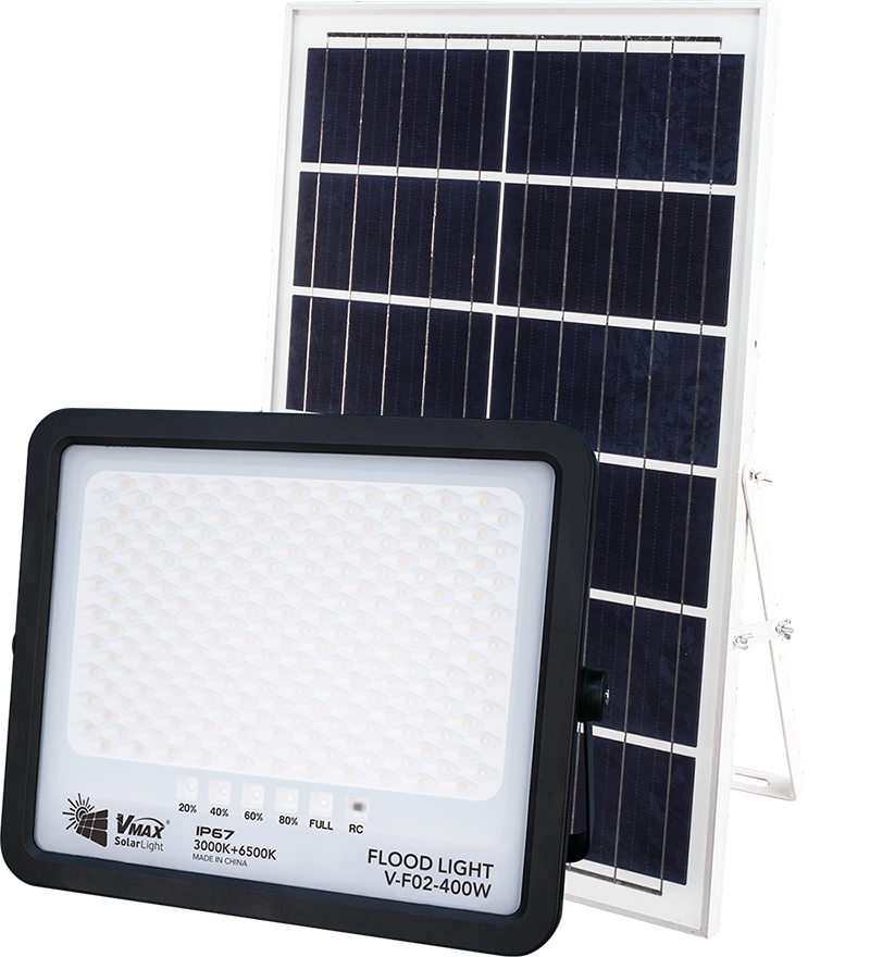 Solar flood light for riverside