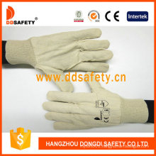 Natural White Canvas Gloves with Knit Wrist