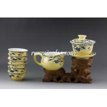 """""""Sowbread Flower"""" Conjunto de Cháware de Porcelana de Vidro Amarelo, 1 Gaiwan, 1 Jarro e 6 Copos"""