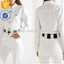Белый хлопок с длинным рукавом молнии украшенные укороченные весенние куртки оптом производство модной женской одежды (TA0001J)