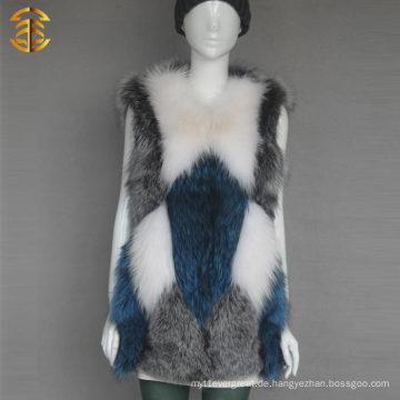 Fabrik Großhandel Customized bunte Kaninchen Fox Pelz Weste