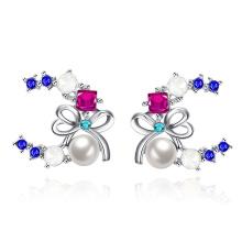 Imitation Pearl Women Earrings Czech Drill Butterfly Shape Pearl Women Earrings Pearl Jewelry
