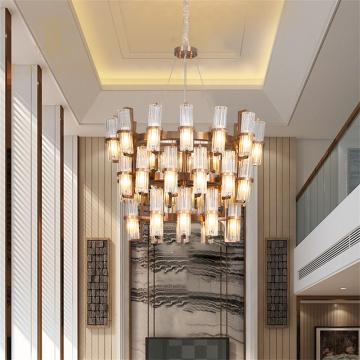 Abat-jour en cristal élégant en acier inoxydable Villa Chandleier